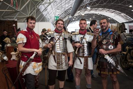 legionaries: MILAN, ITALY - NOVEMBER 2  Roman legionaries pose at Militalia, exhibition dedicated to militaria collectors and military associations on NOVEMBER 2, 2013 in Milan