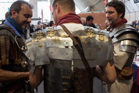 MILAN, ITALY - NOVEMBER 2  Roman legionaries pose at Militalia, exhibition dedicated to militaria collectors and military associations on NOVEMBER 2, 2013 in Milan