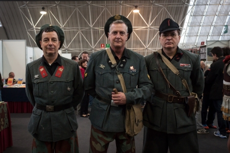 MILAN, ITALY - NOVEMBER 2  Fascist soldiers pose at Militalia, exhibition dedicated to militaria collectors and military associations on NOVEMBER 2, 2013 in Milan