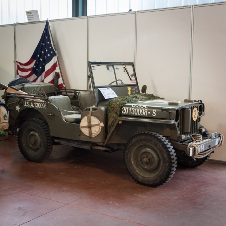 MILAN, ITALY - NOVEMBER 2  WW II American vehicle at Militalia, exhibition dedicated to militaria collectors and military associations on NOVEMBER 2, 2013 in Milan