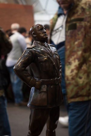 MILAN, ITALY - NOVEMBER 2  Mussolini statute on display at Militalia, exhibition dedicated to militaria collectors and military associations on NOVEMBER 2, 2013 in Milan