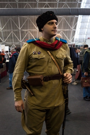 MILAN, ITALY - NOVEMBER 2  Russian soldier at Militalia, exhibition dedicated to militaria collectors and military associations on NOVEMBER 2, 2013 in Milan