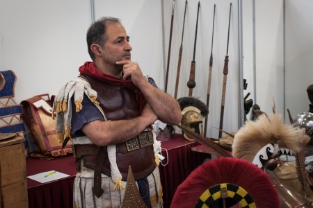 MILAN, ITALY - NOVEMBER 2  Roman legionary poses at Militalia, exhibition dedicated to militaria collectors and military associations on NOVEMBER 2, 2013 in Milan