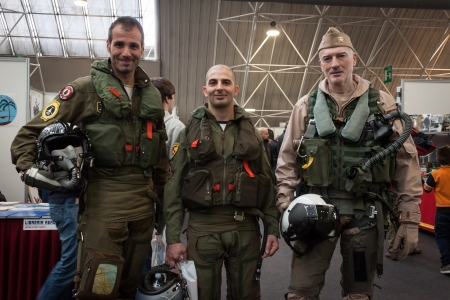 MILAN, ITALY - NOVEMBER 2  Combat pilots pose at Militalia, exhibition dedicated to militaria collectors and military associations on NOVEMBER 2, 2013 in Milan