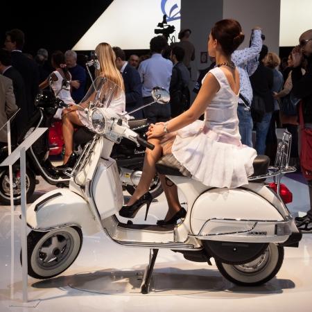 primavera: MILAN, ITALY - NOVEMBER 5  New Vespa Primavera scooter at EICMA, international motorcycle exhibition on NOVEMBER 5, 2013 in Milan  Editorial