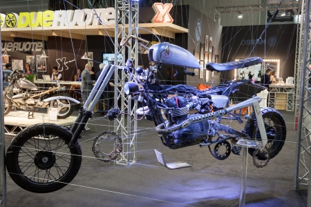 MILAN, ITALY - NOVEMBER 5  Motorbike in pieces at EICMA, international motorcycle exhibition on NOVEMBER 5, 2013 in Milan