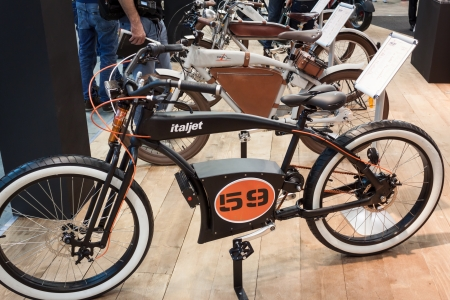 MILAN, ITALY - NOVEMBER 5  Electric bike on display at EICMA, international motorcycle exhibition on NOVEMBER 5, 2013 in Milan