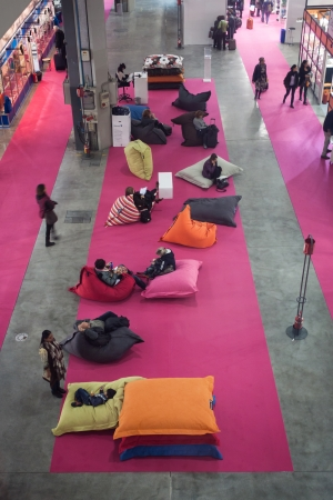 MILAN, ITALY - NOVEMBER 15  Top view of the relaxing area at Chibimart 2013, exhibition devoted to costume jewellery, fashion accessories, semi-precious stones and ethnic products on NOVEMBER 15, 2013 in Milan