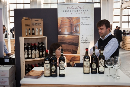 important event: MILAN, ITALY - NOVEMBER 16: Italian winemaker at Golosaria, important event dedicated to culture and tradition of quality food and wine on NOVEMBER 16, 2013 in Milan. Editorial