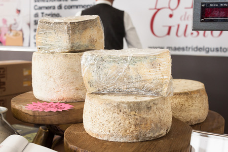 important event: MILAN, ITALY - NOVEMBER 16: Wheels of cheese at Golosaria, important event dedicated to culture and tradition of quality food and wine on NOVEMBER 16, 2013 in Milan.