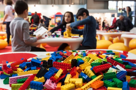 MILAN, ITALY - NOVEMBER 22  Detail of Lego building bricks at G  come giocare, trade fair dedicated to games, toys and children on NOVEMBER 22, 2013 in Milan  Editorial