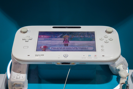 nintendo: MILAN, ITALY - NOVEMBER 22  Detail of Nintendo Wii console at G  come giocare, trade fair dedicated to games, toys and children on NOVEMBER 22, 2013 in Milan