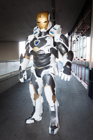 mecha: MILAN, ITALY - DECEMBER 1: Cosplayer poses at iComix, convention dedicated to comics and cosplay world on DECEMBER 1, 2013 in Milan.