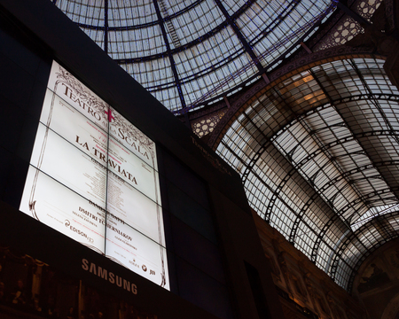 MILAN, ITALY - DECEMBER 7  Big screen ready to broadcast Verdi