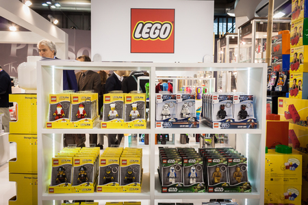 MILAN, ITALY - JANUARY 20: Lego key rings on display at HOMI, home international show and point of reference for all those in the sector of interior design on JANUARY 20, 2014 in Milan.