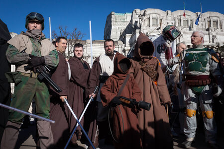 trilogy: MILAN, ITALY - JANUARY 26: People of 501st Legion, official costuming organization, take part in the Star Wars Parade wearing perfectly accurate costumes on JANUARY 26, 2013 in Milan.
