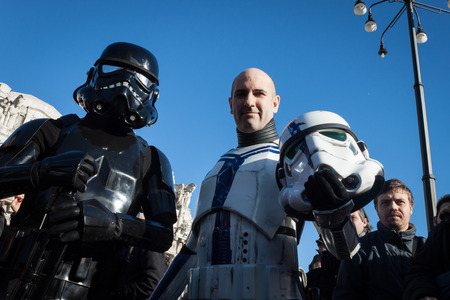 stormtrooper: MILAN, ITALY - JANUARY 26: People of 501st Legion, official costuming organization, take part in the Star Wars Parade wearing perfectly accurate costumes on JANUARY 26, 2013 in Milan.