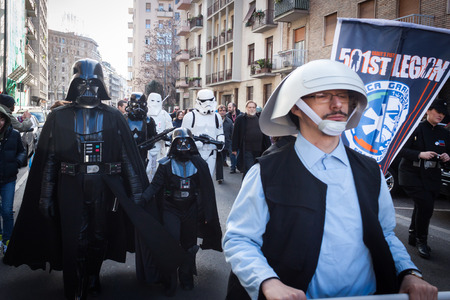 perfectly: MILAN, ITALY - JANUARY 26: People of 501st Legion, official costuming organization, take part in the Star Wars Parade wearing perfectly accurate costumes on JANUARY 26, 2013 in Milan.
