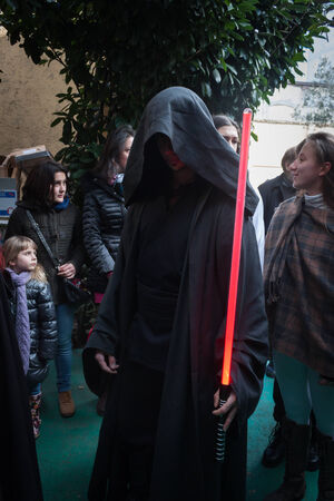 legion: MILAN, ITALY - JANUARY 26: People of 501st Legion, official costuming organization, take part in the Star Wars Parade wearing perfectly accurate costumes on JANUARY 26, 2013 in Milan.