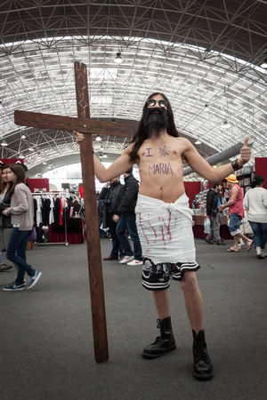 MILAN, ITALY - FEBRUARY 2: Parody of Jesus at Festival del Fumetto, convention dedicated to comics and cosplay world on FEBRUARY 2, 2014 in Milan.