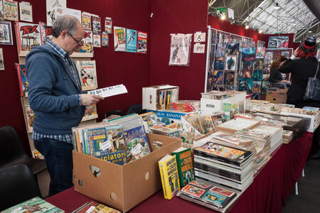 MILAN, ITALY - FEBRUARY 2: Comics on display at Festival del Fumetto, convention dedicated to comics and cosplay world on FEBRUARY 2, 2014 in Milan.