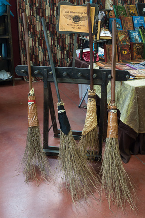 MILAN, ITALY - FEBRUARY 2: Flying brooms on display at Festival del Fumetto, convention dedicated to comics and cosplay world on FEBRUARY 2, 2014 in Milan.