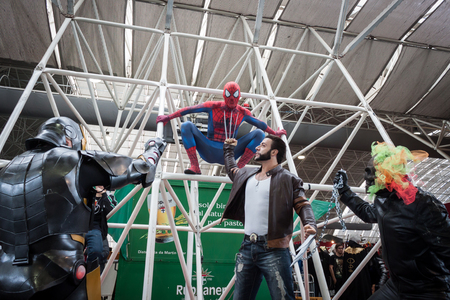 spiderman: MILAN, ITALY - FEBRUARY 2: Cosplayers pose at Festival del Fumetto, convention dedicated to comics and cosplay world on FEBRUARY 2, 2014 in Milan.