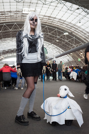 MILAN, ITALY - FEBRUARY 2: Cosplayer poses at Festival del Fumetto, convention dedicated to comics and cosplay world on FEBRUARY 2, 2014 in Milan.