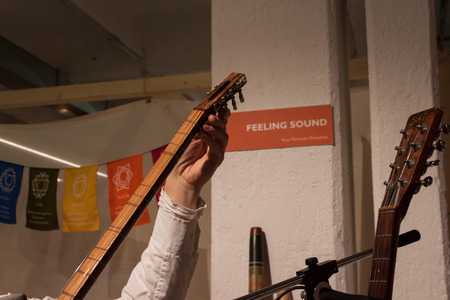 disciplines: MILAN, ITALY - FEBRUARY 7: Detail of a musician playing instrument at Olis Festival, event dedicated to holistic disciplines, alternative medicine and natural food on FEBRUARY 7, 2014 in Milan. Redactioneel