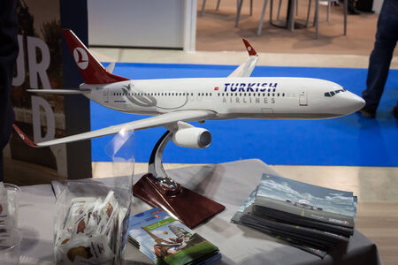 reference point: MILAN, ITALY - FEBRUARY 13  Turkish airlines airplane model at Bit, international tourism exchange reference point for the travel industry on FEBRUARY 13, 2014 in Milan