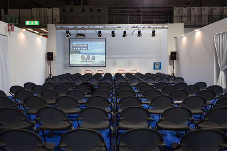 MILAN, ITALY - FEBRUARY 13  Empty conference room at Bit, international tourism exchange reference point for the travel industry on FEBRUARY 13, 2014 in Milan