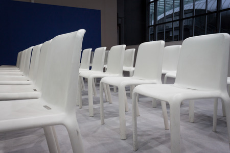 reference point: MILAN, ITALY - FEBRUARY 13  White empty chairs at Bit, international tourism exchange reference point for the travel industry on FEBRUARY 13, 2014 in Milan