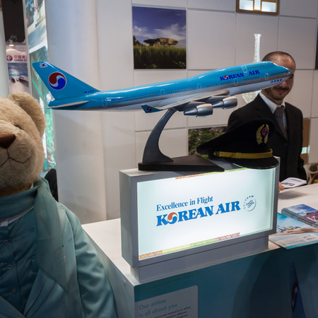 MILAN, ITALY - FEBRUARY 13  Korean Air airplane model at Bit, international tourism exchange reference point for the travel industry on FEBRUARY 13, 2014 in Milan