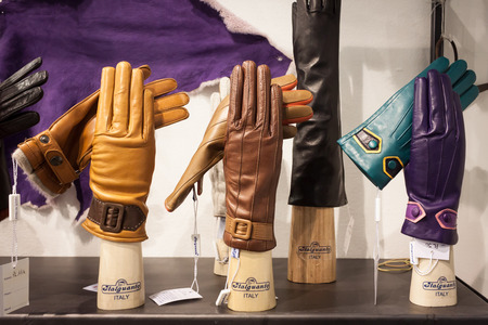 pret a porter: MILAN, ITALY - FEBRUARY 22: Leather gloves on display at Mipap, international presentation of womens pret-a-porter and accessories on FEBRUARY 22, 2014 in Milan.
