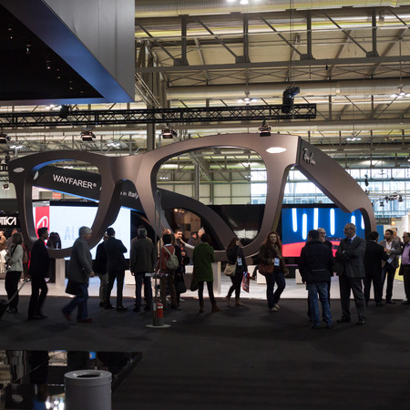 MILAN, ITALY - MARCH 1: People visit Mido, international exhibition for optics, optometry and ophtalmology on MARCH 1, 2014 in Milan.