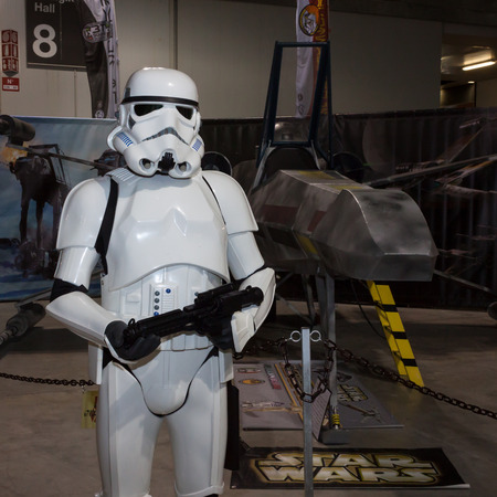 stormtrooper: MILAN, ITALY - MARCH 14: Star Wars stormtrooper at Cartoomics, event dedicated to comics, cartoons, cosplay, fantasy and gaming on MARCH 14, 2014 in Milan