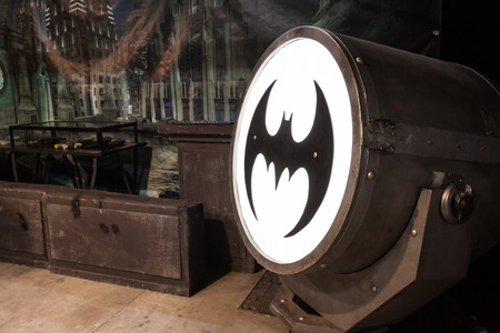 MILAN, ITALY - MARCH 14: Batsignal device on display at Cartoomics, event dedicated to comics, cartoons, cosplay, fantasy and gaming on MARCH 14, 2014 in Milan Редакционное