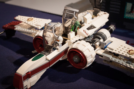 MILAN, ITALY - MARCH 14: Lego X-wing starfighter on display at Cartoomics, event dedicated to comics, cartoons, cosplay, fantasy and gaming on MARCH 14, 2014 in Milan