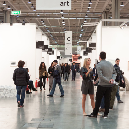 MILAN, ITALY - MARCH 28: People visit Miart, international exhibition of modern and contemporary art on MARCH 28, 2014 in Milan.