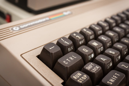 MILAN, ITALY - MARCH 30: Detail of vintage computer keyboard on display at Robot and Makers Milano Show, event dedicated to robotics and makers on MARCH 30, 2014 in Milan.