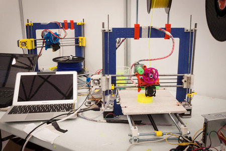 MILAN, ITALY - MARCH 30: 3d printer on display at Robot and Makers Milano Show, event dedicated to robotics and makers on MARCH 30, 2014 in Milan.