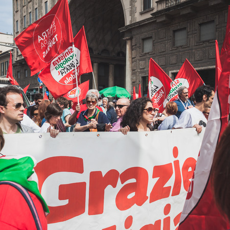 liberation: MILAN, ITALY - APRIL 25  Thousands of people take part in the Liberation Day parade to remember the end of Mussolini