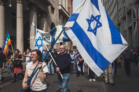 zionism: MILAN, ITALY - APRIL 25  Jewish people take part in the Liberation Day parade to remember the end of Mussolini