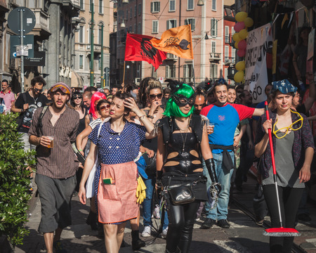 MILAN, ITALY - MAY 1: Thousands of people take part in Mayday parade to celebrate the international Workers Day on MAY 1, 2014 in Milan.