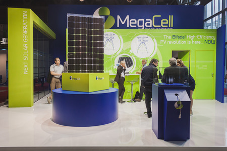 MILAN, ITALY - MAY 7: Solar panels on display at Solarexpo, international exhibition for promoting innovative and renewable energy technology on MAY 7, 2014 in Milan.