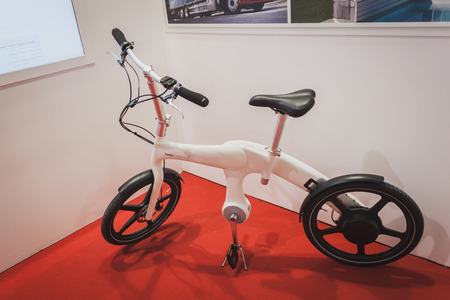 MILAN, ITALY - MAY 7: Bicycle on display at Solarexpo, international exhibition for promoting innovative and renewable energy technology on MAY 7, 2014 in Milan.
