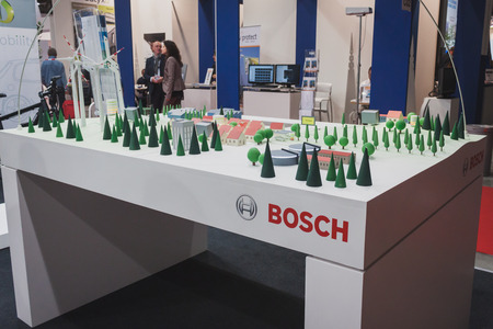 MILAN, ITALY - MAY 7: Detail of Bosch stand at Solarexpo, international exhibition for promoting innovative and renewable energy technology on MAY 7, 2014 in Milan.