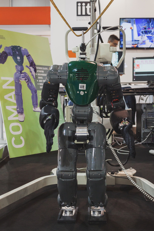 MILAN, ITALY - MAY 7: Coman robot on display at Solarexpo, international exhibition for promoting innovative and renewable energy technology on MAY 7, 2014 in Milan.
