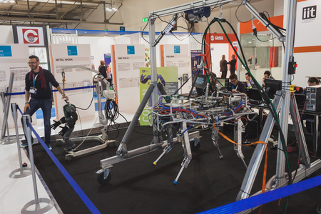 MILAN, ITALY - MAY 7: HyQ robot on display at Solarexpo, international exhibition for promoting innovative and renewable energy technology on MAY 7, 2014 in Milan.