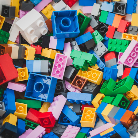 MILAN, ITALY - MAY 10: Detail of bricks at Lego Village, event held in the city streets to promote creativity and manual ability on MAY 10, 2014 in Milan.
